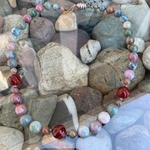 """Unknown Vintage Jewelry - Vintage Agate Bead Knotted Necklace 18"""""""